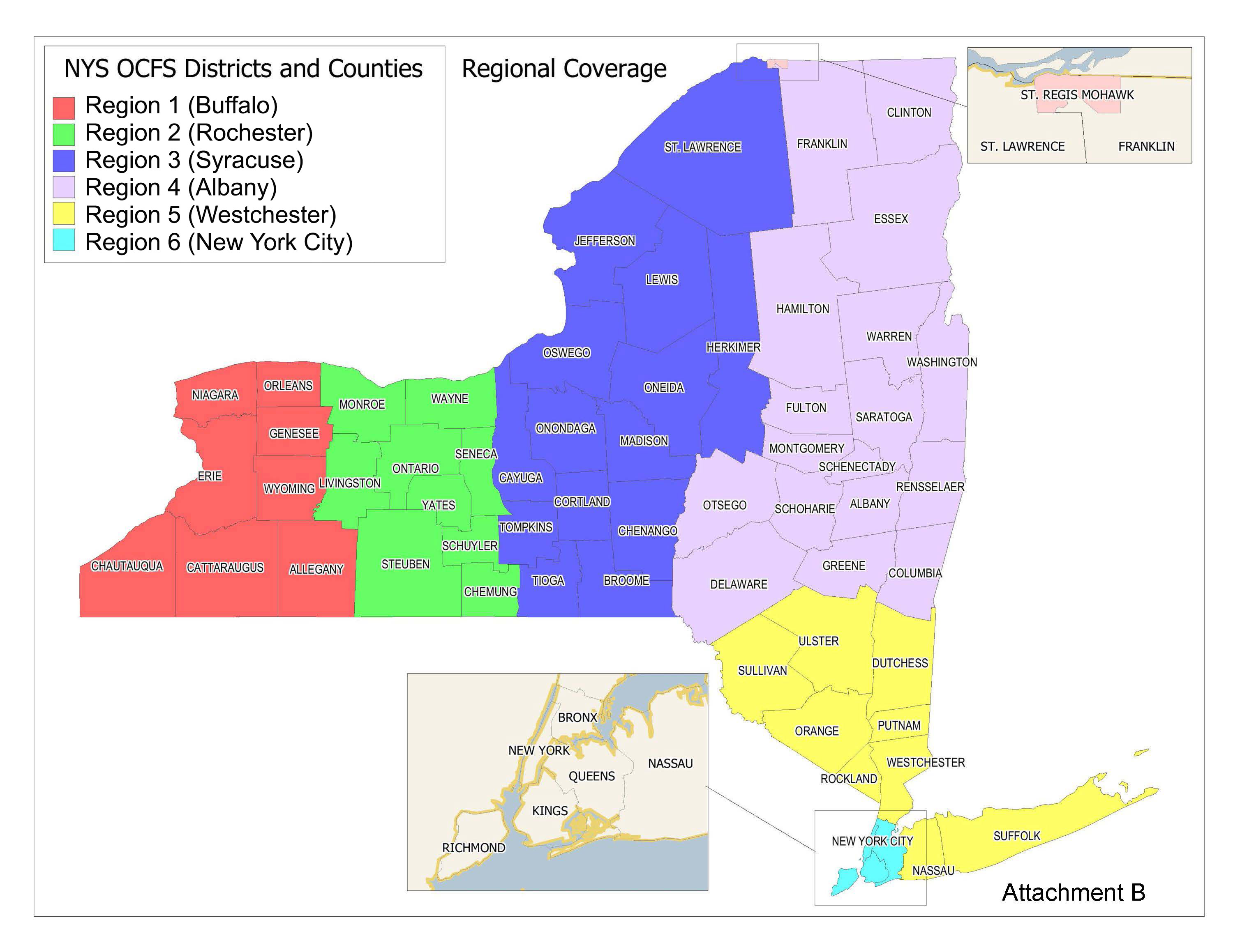 Map of OCFS regions in New York State