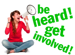 Young woman yelling into a megaphone